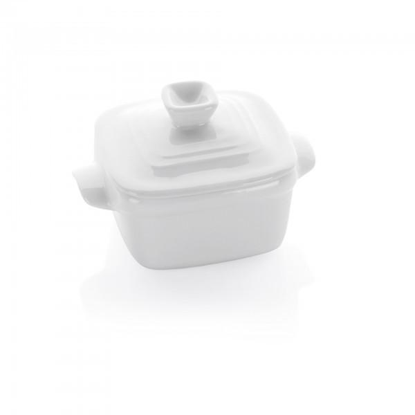 Mini-Schälchen - Porzellan - weiß - eckig