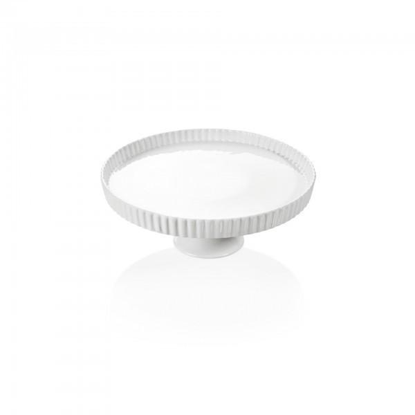 Tortenplatte - Porzellan - rund - Rand strukturiert